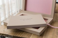 Graphistudio young book wedding album / contemporary modern wedding book in an ivory leatherette and pink linen finish