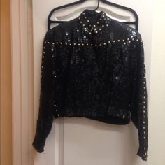 Vintage Black Sequin ☀ Bomber Jacket Rare Find This is a black/gold sequin bomber jacket. Black & Gold designs on back...and sleeves Zip up front. Stretchy band around bottom and cuffs. *******This is so cute on! Perfect way to spice up any outfit as it would be cute with jeans or an evening dress. Options galore and so fun! Unique to say the least! ******* VINTAGE-  GOOD DESIGN NEVER GOES OUT OF STYLE 100% Pure Silk Lining: 100% Rayon !!! Jackets & Coats