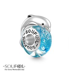 Soufeel Jumping Dolphin Murano Glass Bead 925 Sterling Silver,for every memorable day. Subltle blue fits all bracelets.