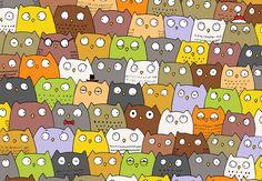 Desafio: Tente achar um gatinho entre tantas corujas