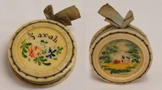 ANTIQUE 19th C Hand Painted Sarah Celluloid Pin Cushion Round Disc Floral Scenic #Unknown