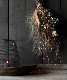 Large Tuft of Thyme, Holm Oak, LED String and Wabi Sabi Band - Herber . - Large Tuft of Thyme, Holm Oak, LED String and Wabi Sabi Band – HerbersLifestyle – Barefoot Conc - Natural Christmas, Christmas Mood, Rustic Christmas, Christmas Wreaths, Christmas Decorations, Holiday Decor, Wabi Sabi, Natal Natural, Decoration Inspiration