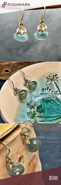 """Flash Sale Moss Aquamarine handmade earrings These are gorgeous, onion cut , aquamarine with cubic zirconia. Super delicate and very versatile earrings that can go with just about anything. The hooks are made with 14K gold fill and it's hypoallergenic and very durable coating. Length 1"""" in total. Jewelry Earrings"""