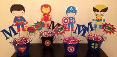 Superhero Centerpieces Avengers Birthday, Superhero Birthday Party, 4th Birthday Parties, Boy Birthday, Marvel Baby Shower, Superhero Baby Shower, Superhero Centerpiece, Iron Man Party, Comic Party