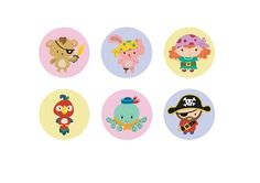 Button Badge designs - Pirates , Octopus, Bunny, Teddy & Parrot
