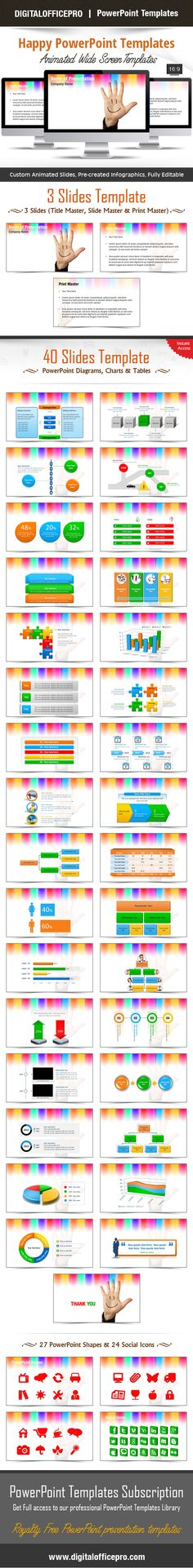 Impress and Engage your audience with Happy PowerPoint Template and Happy PowerPoint Backgrounds from DigitalOfficePro. Each template comes with a set of PowerPoint Diagrams, Charts & Shapes and are available for instant download.
