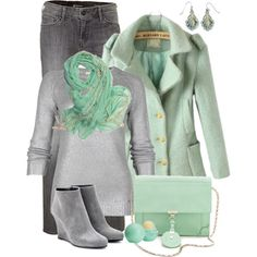 """""""Mint and Grey"""" by fantasy-closet on Polyvore"""