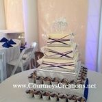 Art deco inspired bling and ribbon cake and cupcakes
