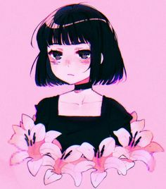 flowers, plant, hair, girl, reference
