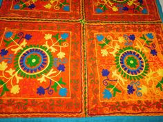 INDIAN HAND EMBROIDERY VELVET TAPESTRY PATCHWORK WALL HANGING TABLE THROW AX8 #Handmade #ArtDecoStyle