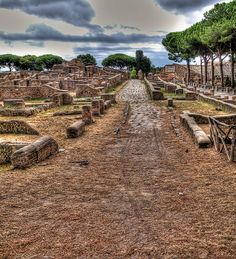 Ostia Antica (near Rome, Italy)...this city was abandoned hundreds of year ago, but no one is really sure why.