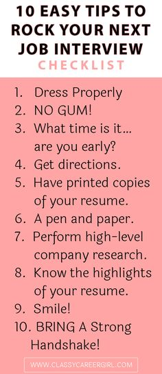 So…you scored the job interview. YES! The hours you spent crafting the perfect resume has paid off and the hiring team has called you to request an on-site meeting at their company headquarters.  http://www.classycareergirl.com/2016/05/job-interview-checklist/