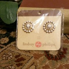 Lindsay Phillips Shoe Snaps White & goldtone with white rhinestones. Lindsay Phillips  Accessories