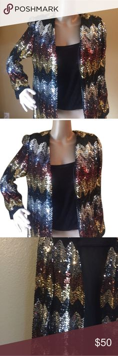 JoEd Sophisticates Sequin Black Silver Gold Blazer Chevron styled sequin jacket. Silver, gold, bronze, and black with shoulder pads. Vintage 80s Shoulder 16 Bust 40 Length 24 Holiday Season New Years Eve JoEd Sophisticates Jackets & Coats Blazers