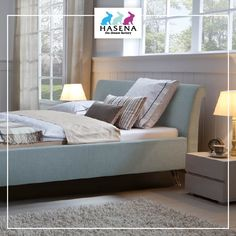 Hasena Dream-Line Bett mit Kopfteil Damo und Fusselement Fasio Line, Bed, Furniture, Home Decor, Decoration Home, Fishing Line, Stream Bed, Room Decor, Home Furnishings