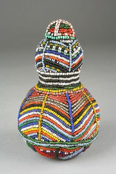 Africa | Snuff Vessel from Kenya | Calabash, glass beads and cloth | 20th century