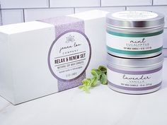 $22.00 Lavender Candles, Candle Set, Soy Wax Candles, Relax, Mint, Peppermint