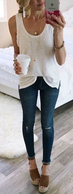 #spring #outfits White Top & Ripped Skinny Jeans & Brown Suede Platform Sandals