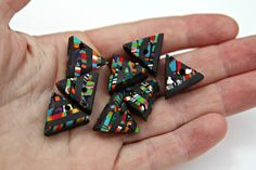 Set of Handmade Mosaic Polymer Clay Pendants in Triangular Shapes by blancheandguy on Etsy