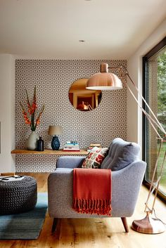 burnt orange, teal, copper and geometric wallpaper