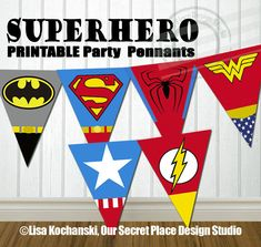 INSTANT DOWNLOAD Superhero Party Banner Super by OurSecretPlace
