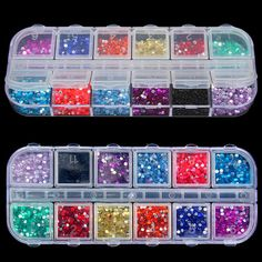 New Mix 12 Color 2mm Circle Beads Nail Art Tips Rhinestones Glitters Acrylic UV Gel Gems Decoration with Hard Case  Price: 1.40 USD