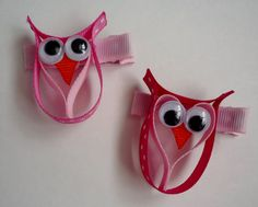 Valentines Owl Hair clip Ribbon Sculpture by TakeABowHandcrafts, $5.00