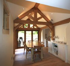 Homes - Natural Structures Small Conservatory, Cool Sheds, Shed Cabin, Oak Frame House, Design Your Own Home, Timber Beams, Natural Structures, Kitchen Display, Roof Design