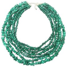 Preowned Malachite Graduated Nugget Artisan Necklace (€150) ❤ liked on Polyvore featuring jewelry, necklaces, beaded necklaces, blue, beaded statement necklace, chain statement necklace, bead strand necklace, blue statement necklace and sterling silver chain necklace