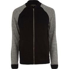 Black contrast marl sleeve bomber jacket