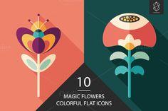 Magic flowers flat icon set by Yury Velikanov on Creative Market