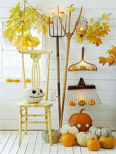 halloween decorations, chair, fall displays, garden tools, autumn, fall decorating, white pumpkins, front porches, jack skellington