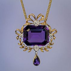 made in Moscow between 1908 and 1917 An antique gold necklace features a large step cut amethyst of a velvety royal purple color accented by four old Purple Jewelry, Amethyst Jewelry, Amethyst Necklace, Diamond Jewelry, Gold Jewelry, Fine Jewelry, Pearl And Diamond Necklace, Diamond Pendant, Gold Necklace