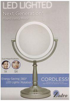 Amazon.com : Zadro 5x Mag Next Generation LED Cordless Double Sided Round Vanity Mirror, 9-Inch, Satin Nickel Finish : Personal Makeup Mirrors : Beauty