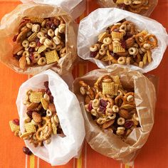 Caramel Snack Mix-  The sweet caramel coating adds just the right twist to nuts, pretzels, dried cranberries, and two kinds of dry cereal.