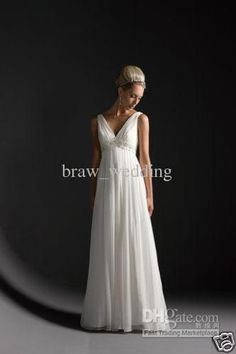 Wholesale Simple Empire V-neck Beading White Chiffon Maternity Wedding Dress Evening Gowns Plus Size Dress D08, Free shipping, $112.0-123.2/Piece   DHgate