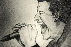 CHESTER BENNINGTON - Sketching by Akhil S Krishnan in scrachings !!! at touchtalent