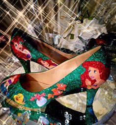 Little mermaid inspired glitter heels