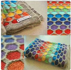 Honeycomb Knitted Blanket Pattern Video Tutorial - - Honeycomb Knitted Blanket Pattern Video Tutorial WHOot Best Crochet and Knitting Patterns Honeycomb Rainbow Blanket! Diy Tricot Crochet, Knit Or Crochet, Baby Blanket Crochet, Free Crochet, Crochet Baby, Knitted Baby, Crochet Owls, Ravelry Crochet, Rainbow Crochet