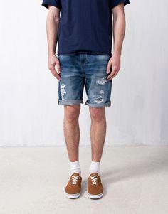 b61f284870b :DENIM BERMUDA Modest Shorts, Bear Men, Pull & Bear, Denim Shorts,