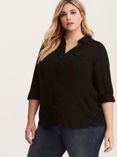 Lace Inset Camp Shirt in Black