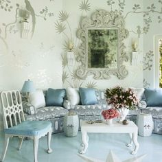 Pretty painted chinoiserie with a pretty duck egg blue. The Foo Dog Ate My Homework