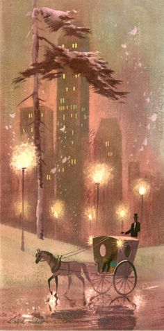 A horse drawn carriage drives past high rise buildings in this charming cityscape from a vintage Ralph Hulett Christmas card. © Estate of Ralph Hulett