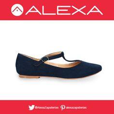 Flats estilo T-bar color azul marino. Perfectos para un look formal