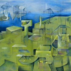 """Acrylic 2007 Painting """"In A Green City"""" City Painting, Create Words, Magazine Art, Saatchi Art, Original Paintings, Abstract, Wood, Green, Artist"""