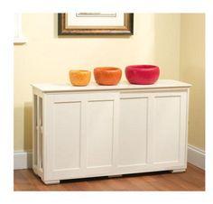 Kitchen Storage Cabinet Stackable Sliding Doors White Wood Pantry Organizer