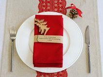 Set Weihnachten Stoffservietten Serviettenring rot