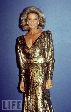 A Golden Era  Linda Evans, Krystle Carrington on Dynasty, rocks a gold dress with amazing shoulder pads in 1986.