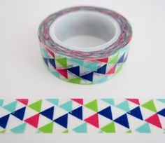 Single roll of washi masking tape with modern blue red green triangles pattern. Great for travel journals, scrapbooking, gift wrapping, decorating cards and envelopes and more! Add a little dash of cu