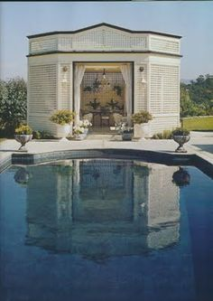 Jack Lowrence's pool Gazebo at his home in Woodside, CA